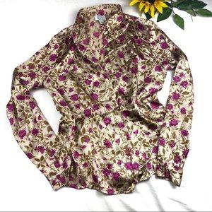 LOFT Blouse Silk Button Down Floral Collared